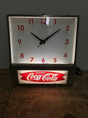 RARE Vintage 50s Coca Cola Fishtail Metal Wall Clock Lights Up Working!
