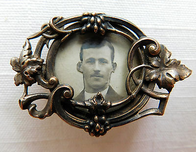 Antique Victorian Mourning Gold Filled Photo Pin