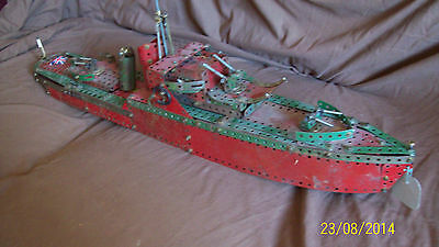 ONE 1949 HORNBY MECCANO SET No 6 100% PARTS COMPLETE  MODEL FRIGATE HMS SHIP