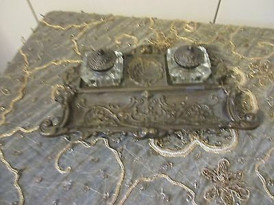 Vtg SOLID BRASS Victorian Style Double GLASS INK WELLS w/Pen/CLIP HOLDER