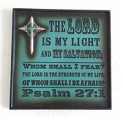 Bible Psalm 27 Verse 1 Christian Metal Teal Plaque Sign Wall Accent Decor