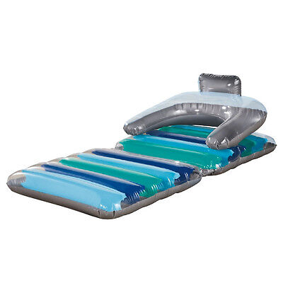 Inflatable Sun Lounger Swimming Pool Air Bed Beach Festival Camping Seat Chair