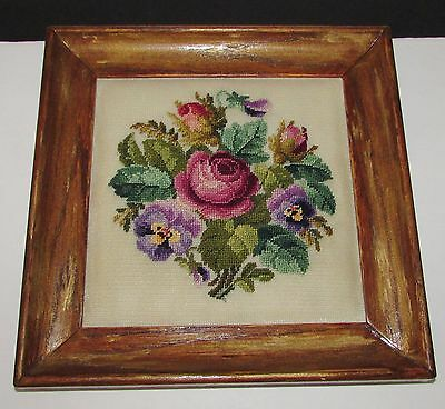 "FRAMED COMPLETED  NEEDLEPOINT ""ROSES""   8"" X 8"" approx."