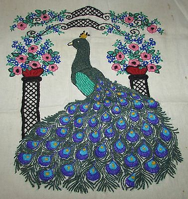"Completed  Needlework Stiching "" Proud Peacock""   17"" X 20"" Unframed"