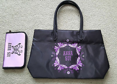 Anna Sui Black Tote Bag with Clutch Wallet Card Case