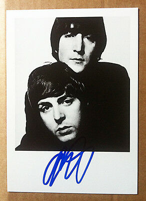 LENNON & McCARTNEY NPG POSTCARD Signed by photographer David Bailey THE BEATLES