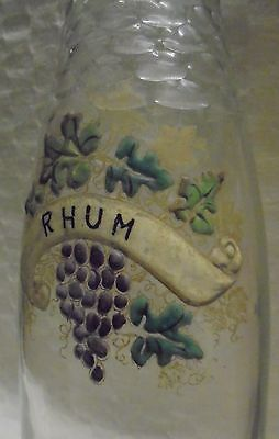 Ancienne Carafe Bouteille En Verre  Souffle Emaille Rhum  N3624