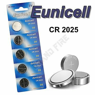 5 x EUNICELL High Quality CR2025 Button Coin Cell Batteries DL2025