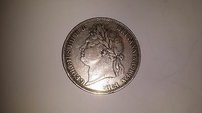 1821 Crown - George Iv British Silver Coin - V Nice