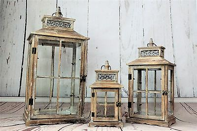 3 Set Large Antique Shabby Chic Wooden Rustic Lanterns Candle Holders in Brown