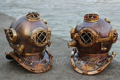 Heavy USN Mark V Diving Helmet Full Copper & Brass Beautiful Antique Two Pieces