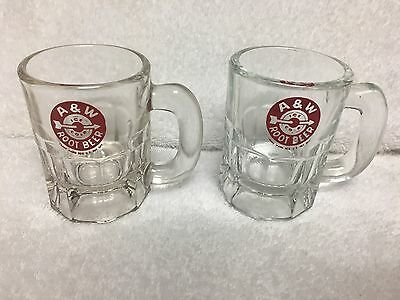 Lot of 2 Small Vintage A&W Root Beer Ice Cold Arrow Glass Mugs