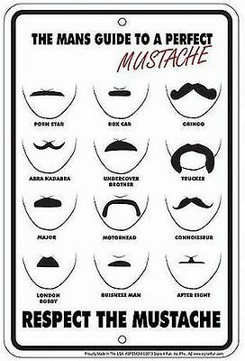 The Perfect Mustache METAL SIGN- great for the Barber Shop