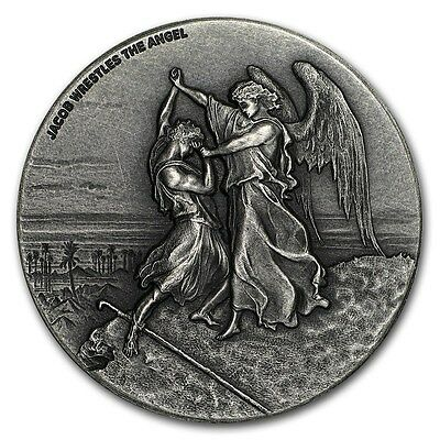 2017 Biblical Series Jacob Wrestling With Angel 2oz Silver Antiq. Coin W/OMP/COA
