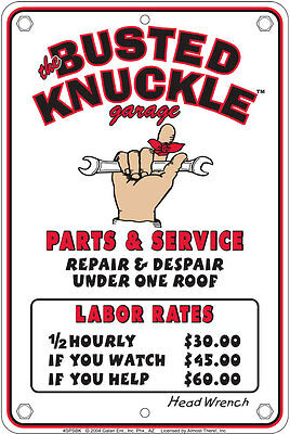 BUSTED KNUCKLE Custom Auto Detailing new metal 8x12 sign Garage Repair