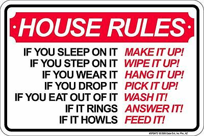 HOUSE RULES new metal sign for members of the Family to follow