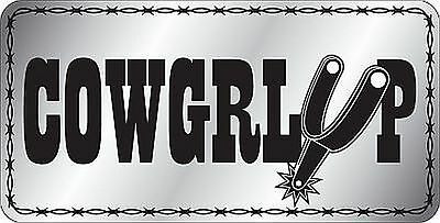 COWGIRL UP  metal license plate for RODEO fans - pull your big girl shorts up