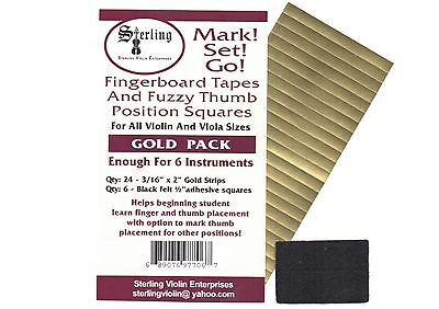 Sterling-Mark!Set!Go! GOLD Violin/Viola Fingerboard Tapes & Felt Thumb Squares