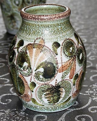 Bourne Denby Glyn Colledge Vase Impressed Marks Abstract Green - Free Post