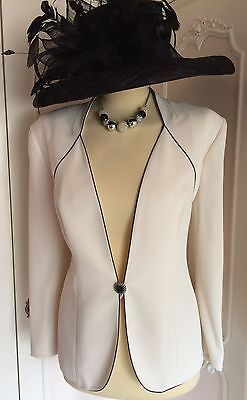 JACQUES VERT Ivory & Black Jacket Suit Wedding Mother of the Bride Size 16