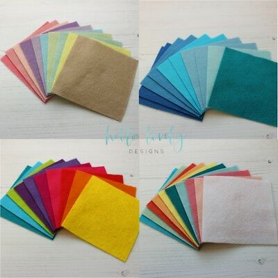 WOOL MIX FELT CRAFT PACK 10 Sheets / Choice of colours & sizes *SALE 20% OFF!*