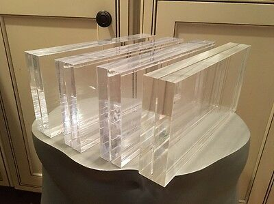 """4 Pre-owned Clear Acrylic Sign Display Holder Price Stand Block 9""""x4.25""""x1.5"""""""