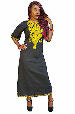 Traditional African Dashiki Dress with Gold Embroidery DP3782