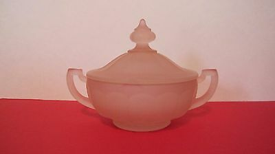 RARE Jeannette Depression Glass Pink Satin Covered Dish with Handles 1920's