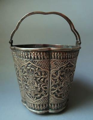 An Antique Quality Silver Siamese Repousse' Ice Bucket W/handles (234.70 Grams).