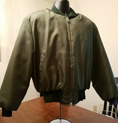 Large Mint Quilted Tanker Jacket U.S. Armed Forces Water Repellent WPL 10881