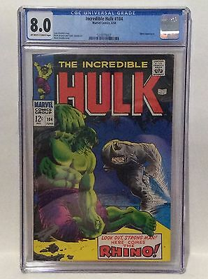 Incredible Hulk 104 CGC GRADED 8.0 OW/W Rhino appearance