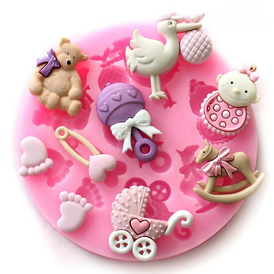Baby Shower New Born Silicone Christening Feet Mould Cake Cupcake Fondant Child