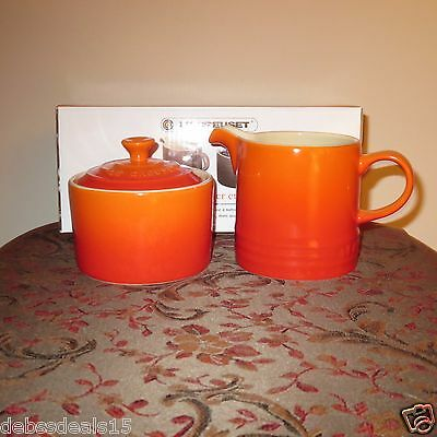 Le Creuset Volcanic Flame Orange Cafe Collection Sugar Bowl And Creamer Set
