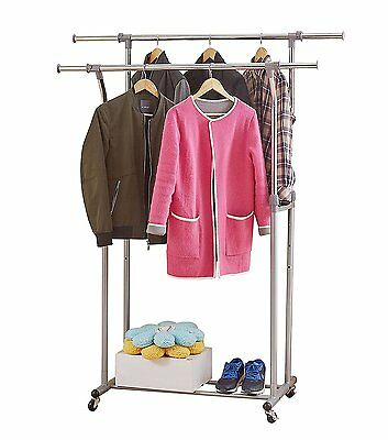 ProAid Double Rail Clothes Rack with Updated Commercial Grade Casters Stainless