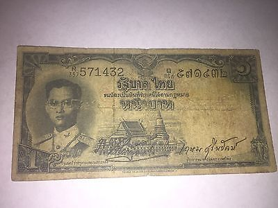 Thailand Banknote 1 Baht Rare Signatures No 1953 Rama 9 Uncommon Type Used