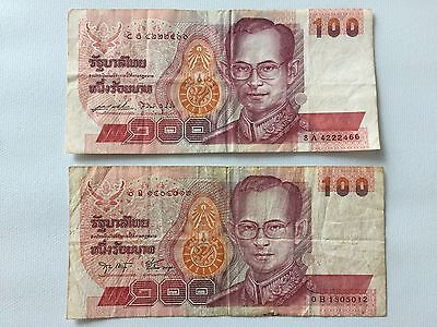 US Seller 2x Thailand Banknote 100 Baht Rama 9 King Circulated Note Currency