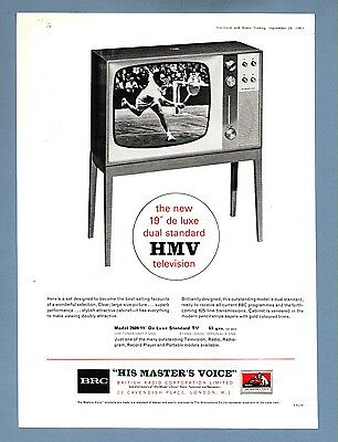 """HIS MASTER'S VOICE"" 19"" TELEVISION - Model 2609   (1963 Advertisement)"