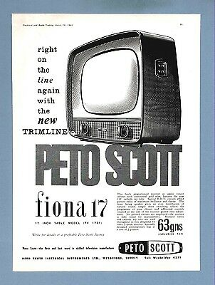 "The  PETO SCOTT ""FIONA"" 17"" TELEVISION    (1960 Advertisement)"