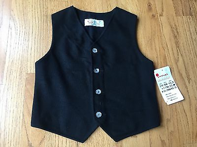 IMP ORIGINALS Boy's Solid Black Wool Vest Size 5 ~BRAND NEW WITH TAGS