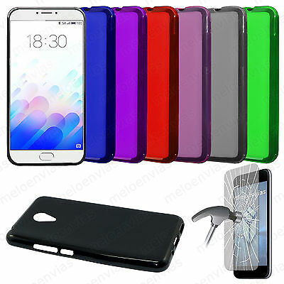 Funda carcasa + CRISTAL TEMPLADO MEIZU M3 NOTE Gel TPU Lisa Mate Colores