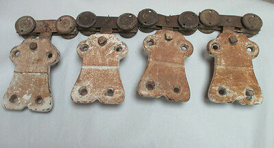 4 Vtg. Antique Cast Iron Barn Door Hanger Brackets with Rollers Wheels