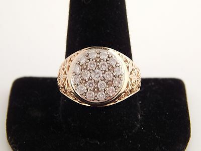 Men's Marked 1.0 tcw Diamond Kentucky Cluster Filigree Ring 14k Yellow Gold F/SI