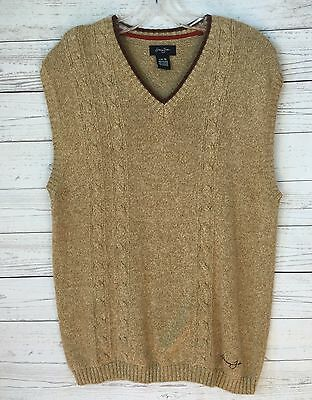 Sean John Boy's V-neck Cable Sweater Tan Vest with Brown Trim - Size 14/16