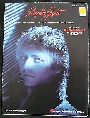 STAY THE NIGHT sheet music BENJAMIN ORR piano vocal guitar 1985