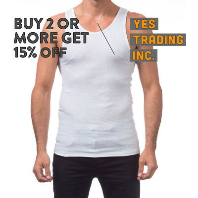 ee58cb69 Proclub Pro Club Mens Casual A-Shirt White Wifebeater Undershirt Tank Top  Muscle