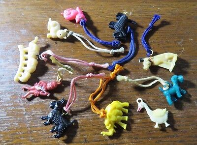Charms Cracker Jack Vintage 1940s Lot of 10 Celluloid Charms Gumball Toy Prize