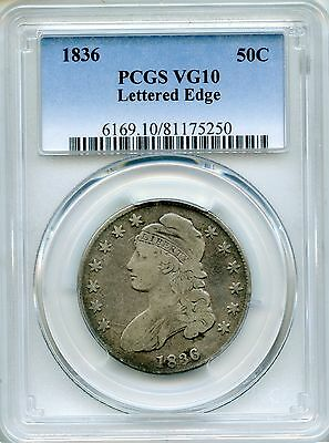 1836 Capped Bust Half Dollar PCGS VG10 ~ Lettered Edge 50c O-122 (81175250)