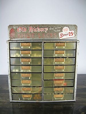 Vintage Old Hickory Shoe Lace Display Case Store Advertising