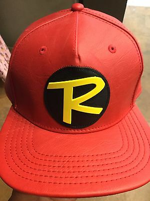 D.C. Comics ROBIN Suit Up Leather SnapBack Hat. NWT. One Size Fits All