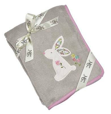 """Maison Chic Beth the Bunny Gray & Pink Blanket  29"""" x 40"""""""